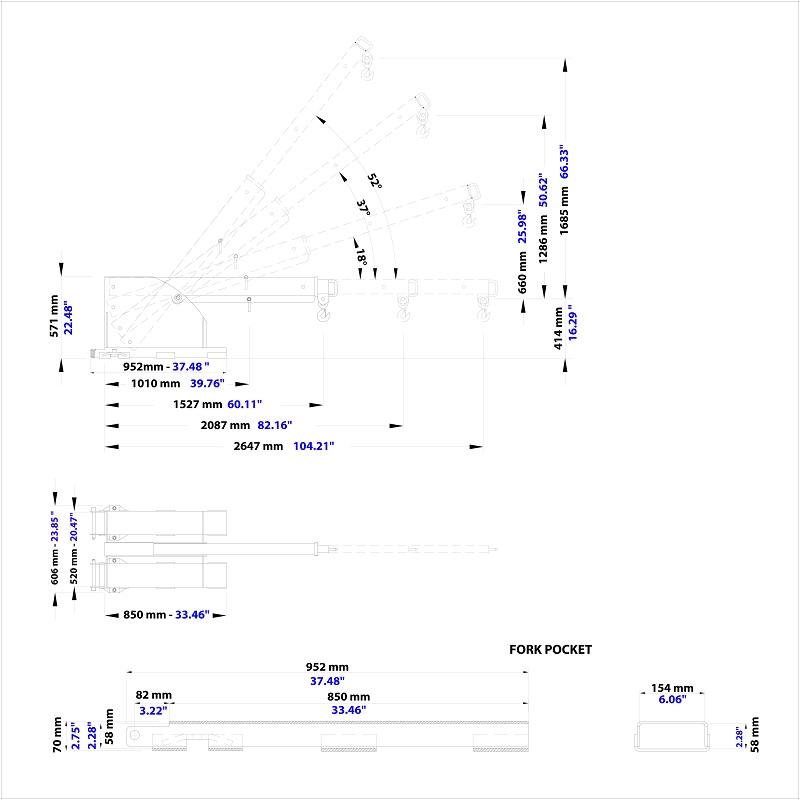 선회형 지게차팔 PFB1-2600