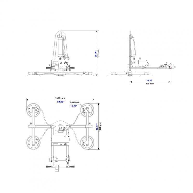 Vacuum Glass Lifter AVGLP4-MR-250